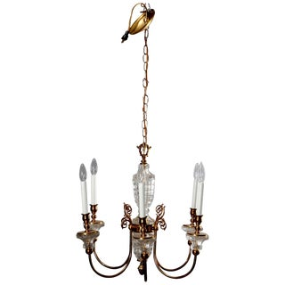 1930s Antique French Bronze & Crystal 6-Light Chandelier For Sale