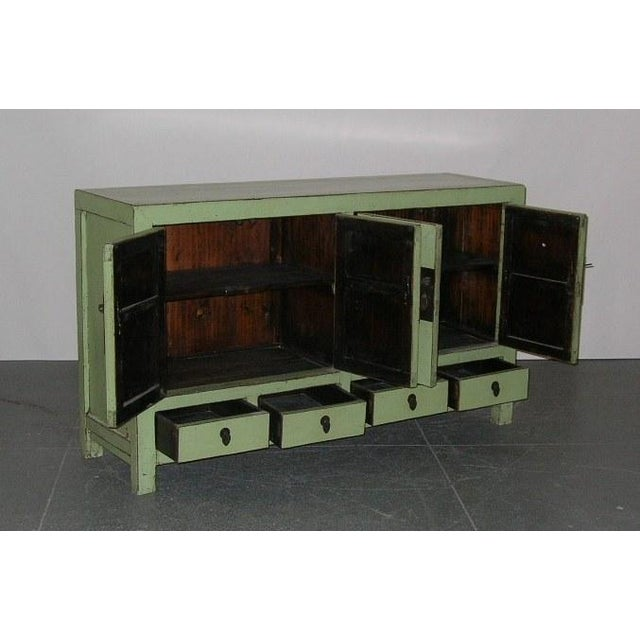 Asian Antique Chinese Light-Green Lacquered Sideboard For Sale - Image 3 of 6