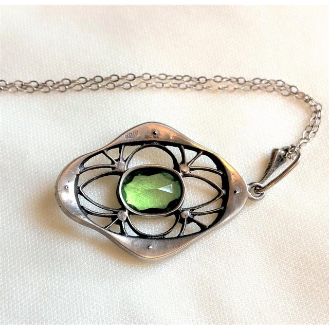 Metal 1910s Antique 800 Silver and Peridot Paste Lavaliere Pendant Necklace For Sale - Image 7 of 8