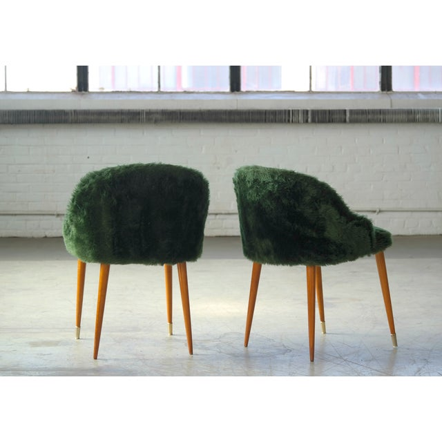 Frode Holm Inspired Mid-Century Danish Vanity Chairs in Elm and Green Faux Fur - a Pair For Sale In New York - Image 6 of 10