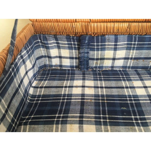 Blue Plaid-Lined Rattan Picnic Basket - Vintage - Image 9 of 11