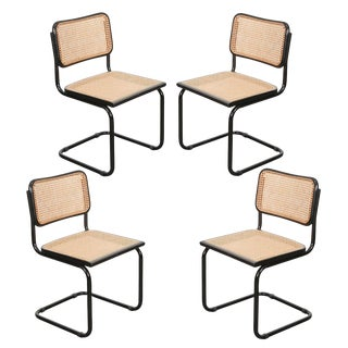 Set of Four Vintage Bauhaus-Style Steel Side Chairs For Sale