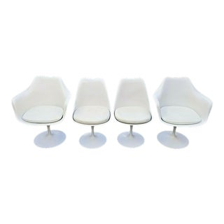 Authentic 1970's Knoll Eero Saarinen Tulip Swivel Dining Chairs - Set of 4 For Sale