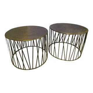 Boho Chic Brass Drum Style Side Tables - a Pair For Sale