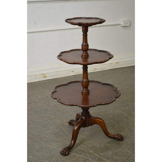 Vintage Mahogany Chippendale Style Claw Foot 3 Tier Dumbwaiter Table For Sale - Image 9 of 11