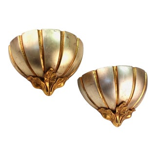 Art Deco Style Sconces in Silver and Gold - a Pair For Sale