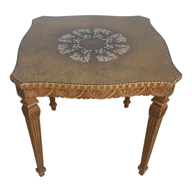 Vintage French Style Hollywood Regency Glass Top Table - Image 1 of 4