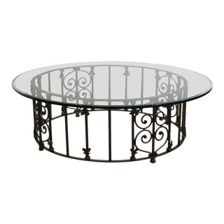 "Custom Wrought Iron 60"" Glass Top Coffee Table For Sale"