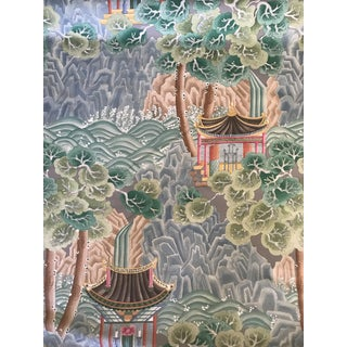 "Chinoiserie Clarence House Hand Printed ""Miramar"" Fabric - 6 Yards For Sale"