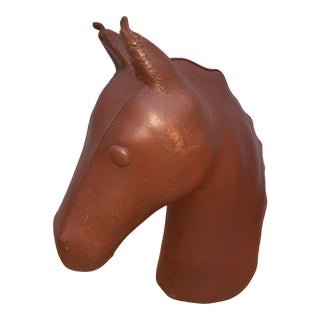 1970s Leather Covered Papier-Mâché Horse Head Bust For Sale
