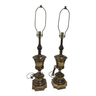 Pair Stiffel Lamps Pineapple Hollywood Regency For Sale