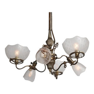 Early & Very Rare Converted Gas-electric 6-light Chandelier Circa 1880s