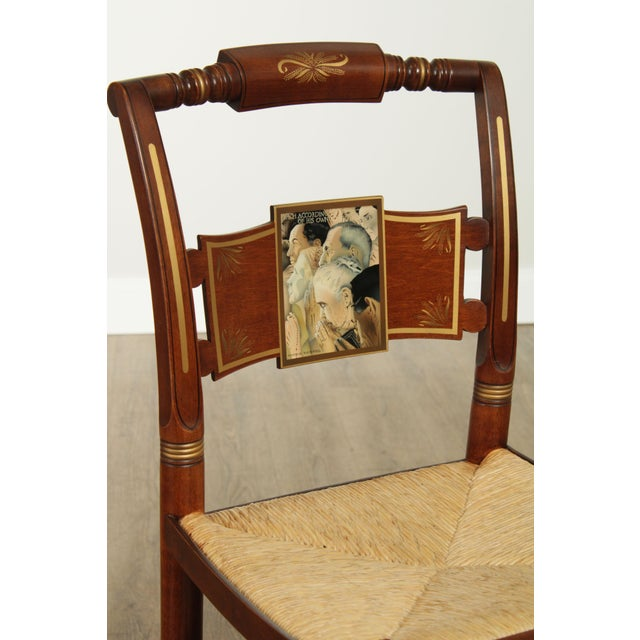 "Hitchcock Norman Rockwell ""Freedom of Worship"" Limited Edition Side Chair For Sale - Image 12 of 13"