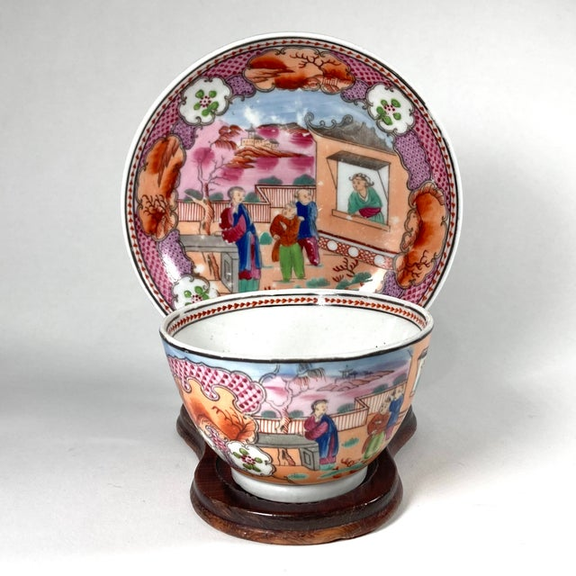 "Chinoiserie Early 19th Century English Georgian Chinoiserie New Hall ""Boy in Window"" Breakfast Set for 4 For Sale - Image 3 of 8"