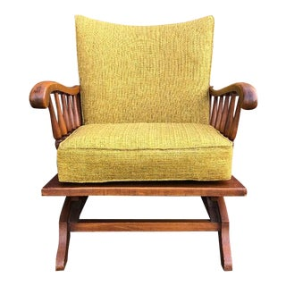 Mid-Century Conan Ball Rocking Chair in Chartreuse Color For Sale