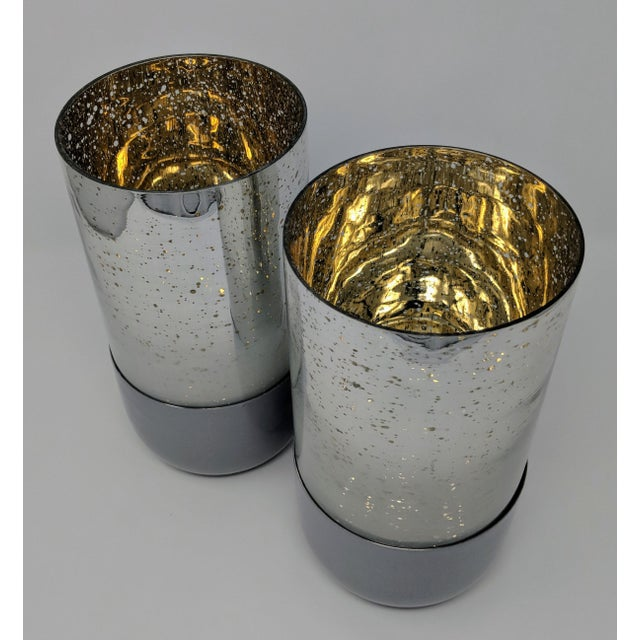 Boho Chic Mercury Glass Candle Holders - a Pair (2) For Sale - Image 3 of 11