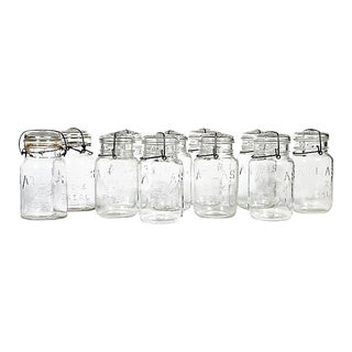 Large Kitchen Glass Canning Jars, Set of 11