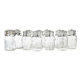Large Kitchen Glass Canning Jars, Set of 11 For Sale