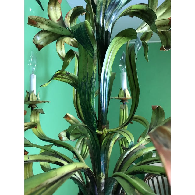 Green Vintage Italian Hand Painted Tiger Lily Tole Chandelier For Sale - Image 8 of 13