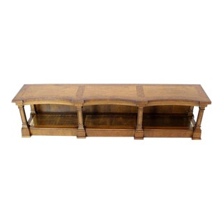 1970s Mid-Century Modern Low Profile Burl Wood Banded Credenza Display Bench or Table With Brass Shelf For Sale
