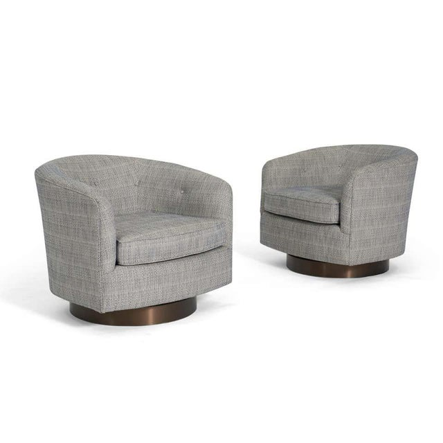 Mid-Century Modern Milo Baughman Swivel Chairs on Bronze Bases- A Pair For Sale - Image 3 of 6