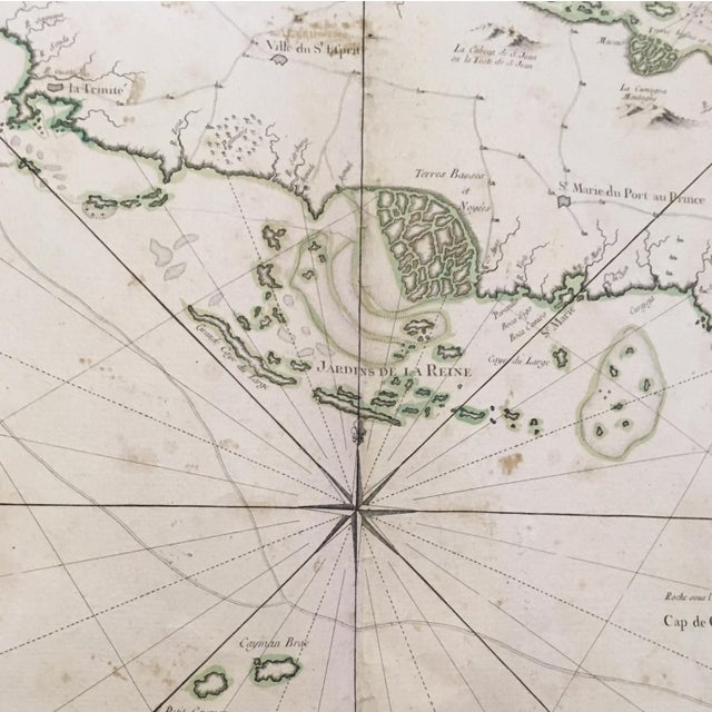 Mid 18th Century 1762 Depot Des Cartes Carte Reduite De l'Isle De Cube Map of Cuba Hydrographical For Sale - Image 5 of 13