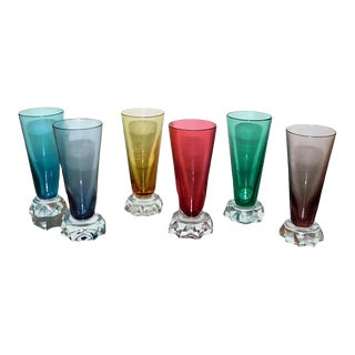 Cordial Sherry Glasses Shot Glasses Multi - Colored Glasses Set of 6 Six Vintage Retro Glasses For Sale
