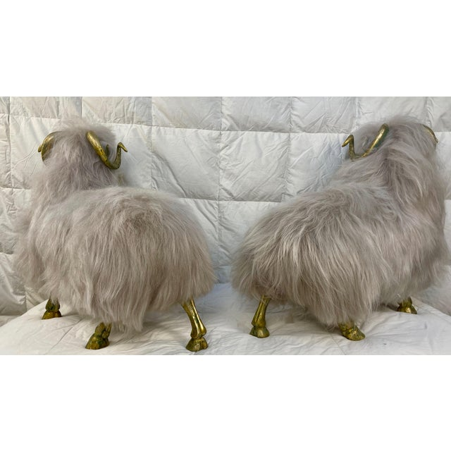 1980s Lalanne Style Bronze Sheep Sculptures - a Pair For Sale - Image 5 of 11