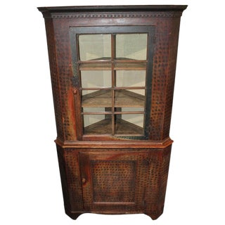 19th Century Original Painted Corner Cupboard From Pennsylvania, 2 Pieces For Sale