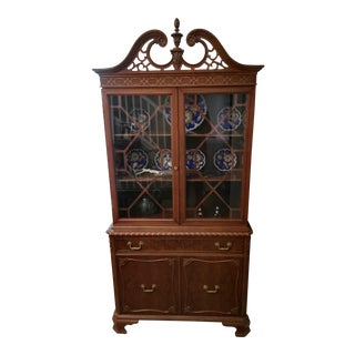 1930's Mid-Century Modern Mahogany Glass Display Cabinet