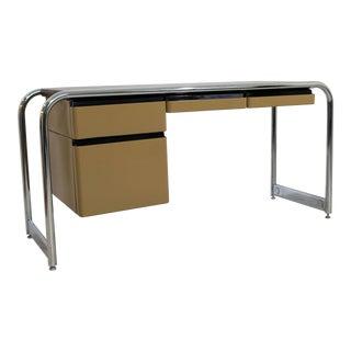 Mid-Century Modern Tubular Chrome Brown Leather Top Desk by Sunar Hauserman For Sale
