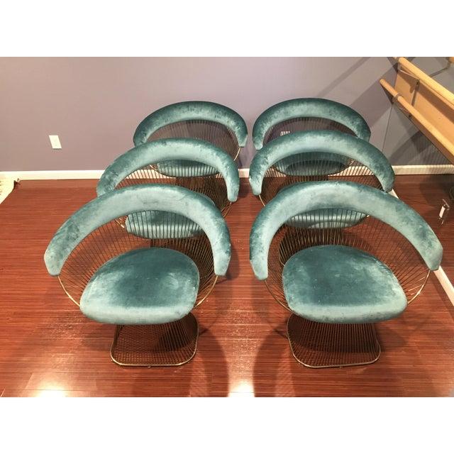2010s Modern Gold Warren Platner Style Silk Velvet Upholstered Dining Chairs - Set of 6 For Sale - Image 5 of 5