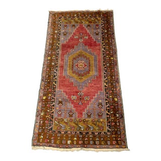 Vintage Turkish Oushak Kilim Rug-3′11″ × 7′8″ For Sale