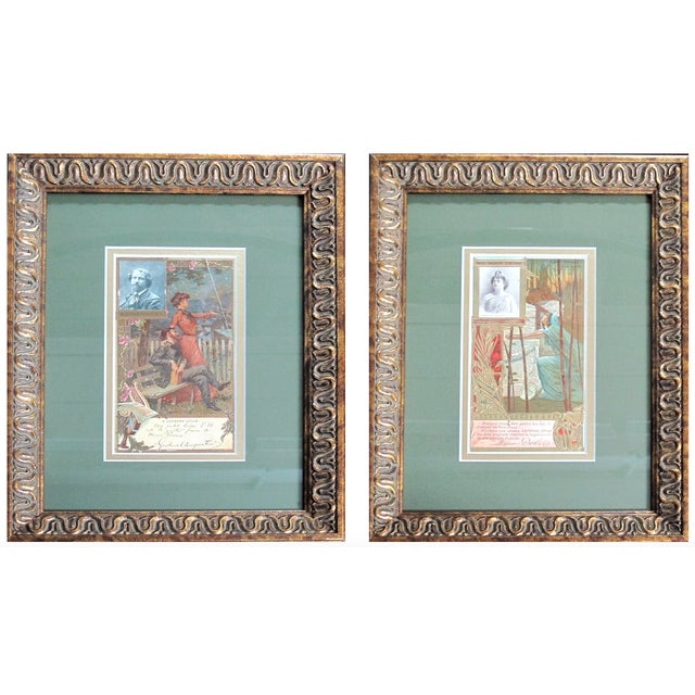 Framed Art Nouveau French Biscuit Ads - A Pair For Sale - Image 4 of 4