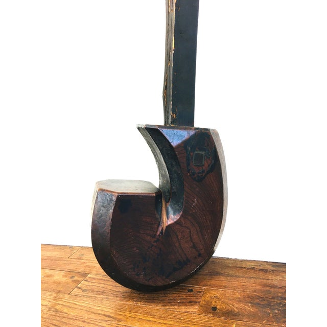Antique Japanese c 19th century Jizai Hearth Hook. Hook carved from a single piece of wood, likely Keyaki ( elm ) wood....