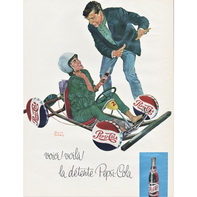 Mid-Century French Advertisement print-PEPSI For Sale