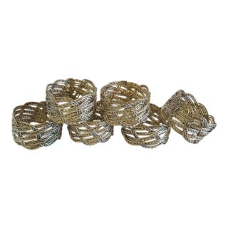 Vintage Silver Wire Napkin Rings - Set of 6 For Sale