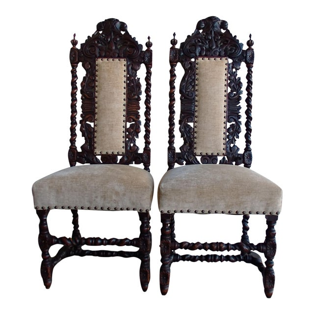 Antique Anglo-Indian Rococo Style Carved Chairs - A Pair - Image 1 of 11
