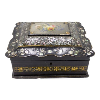 English Victorian Papier Mache Box For Sale