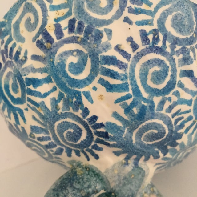 Italian Hand Painted Ceramic Shell Bowl Perched Atop Dolphin Tail For Sale - Image 6 of 10