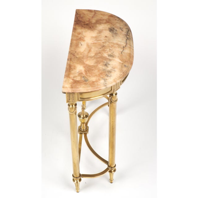 Neoclassic Marble-Top Brass Demilune Console Table - Image 8 of 11