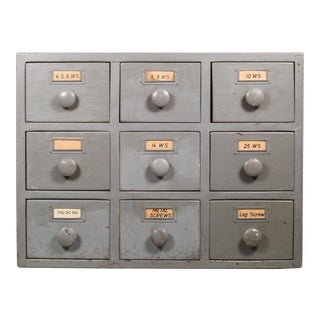 Machinist's Industrial 9 Drawer Wooden Cabinet C.1930 For Sale