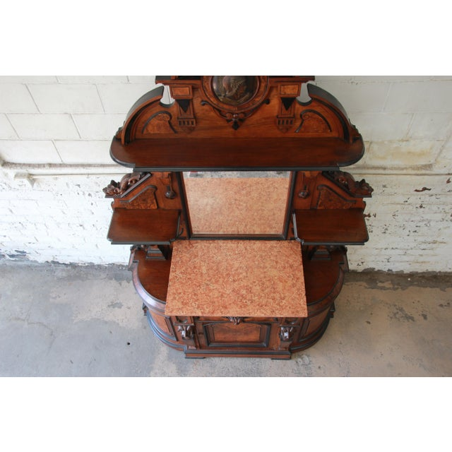Glass Monumental 19th Century Victorian Ornate Carved Burled Walnut Sideboard For Sale - Image 7 of 13