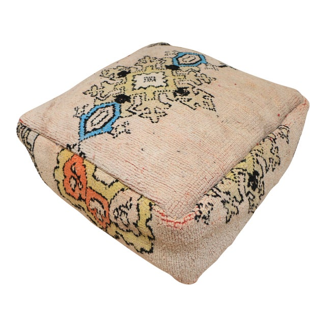 Moroccan Rug Pillow Pouf Cover (Unstuffed) For Sale