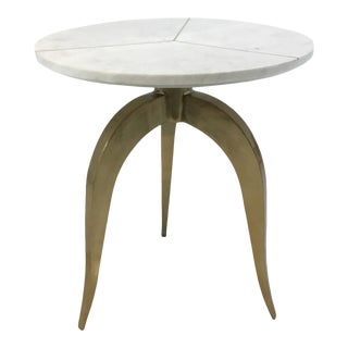 Modern Brass Inlay White Marble And Brass Finished Side Table For Sale