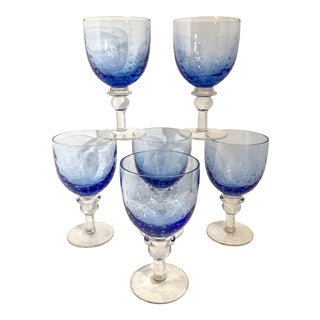 Zrike Pavillion Blue Bubble Goblets - Set of 6 For Sale