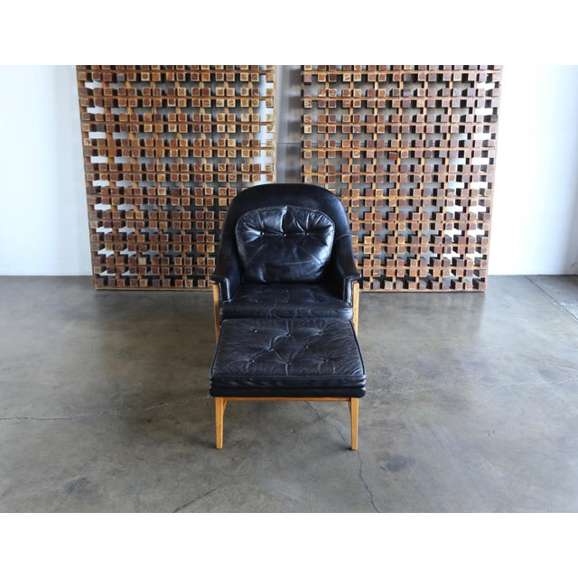 Edward Wormley for Dunbar Leather Lounge Chair and Ottoman Circa 1957 For Sale - Image 11 of 13