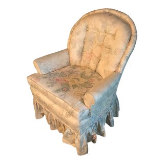 Floral Tufted Upholstery Skirted Lounge Chair For Sale