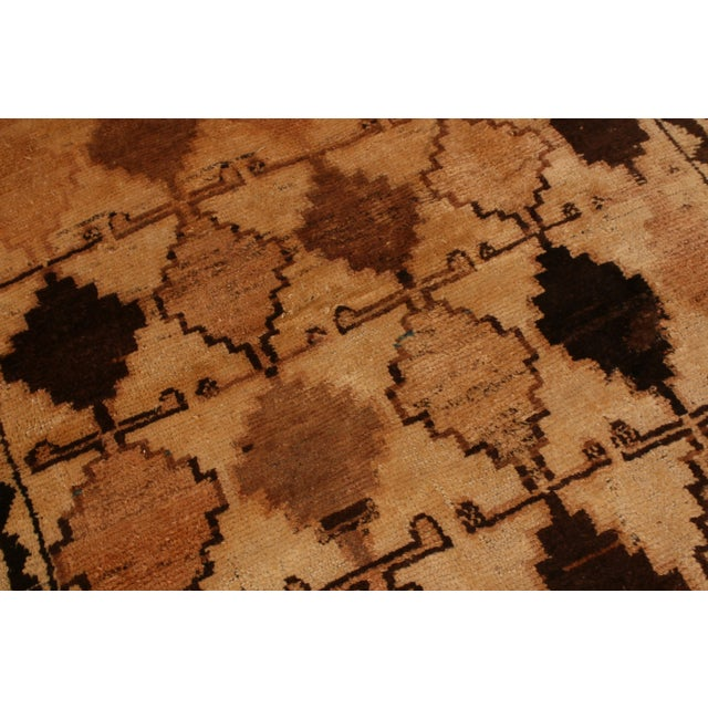Tribal Antique Gabbeh Rug Tribal Beige Brown Hand-Knotted Persian Diamond Pattern For Sale - Image 3 of 6