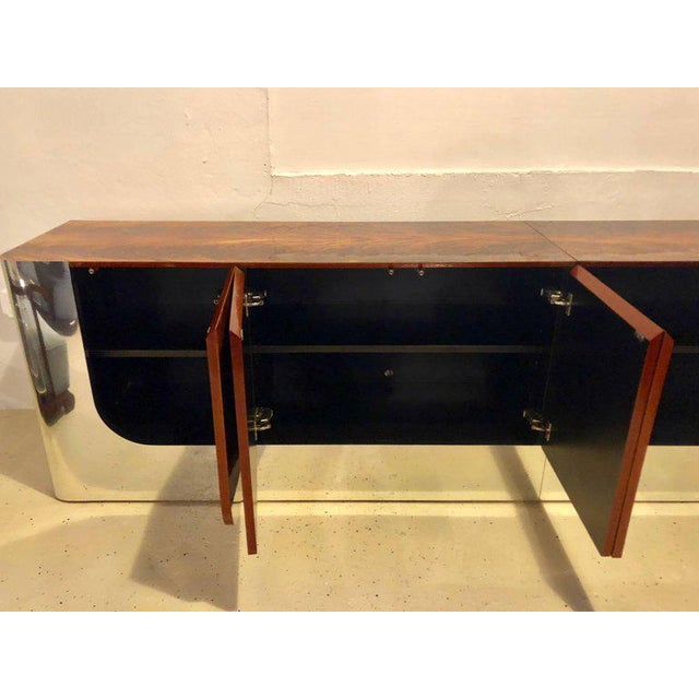 Mid-Century Modern Monumental Sideboard of Chrome and Burl Wood by Pace Collection For Sale - Image 3 of 12
